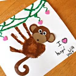 handprint monkey valentine craft for kids crafty morning