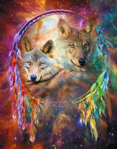 Feather Duvet Cover Dream Catcher Wolf Spirits Mixed Media By Carol Cavalaris