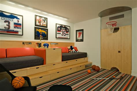 sports themed bedrooms for boys 10 basement basketball court ideas