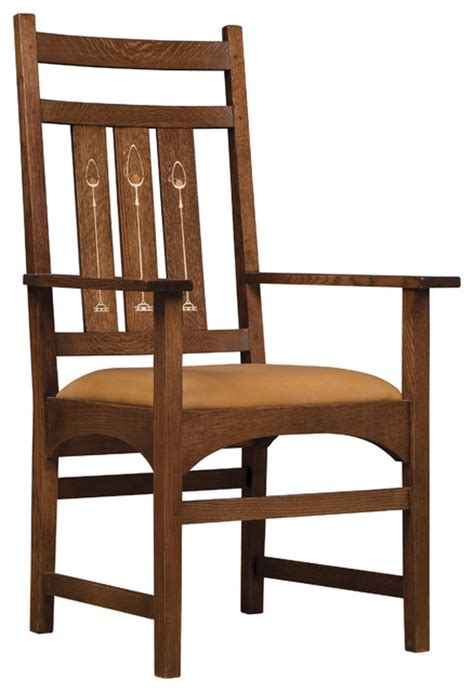 stickley harvey ellis arm chair with inlay 89 91 353 a