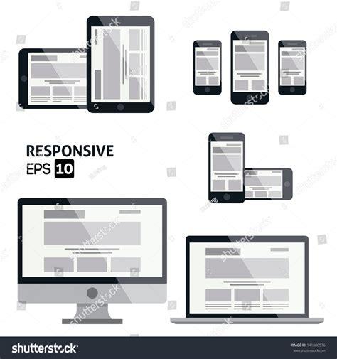 responsive design icon vector responsive web design glossy icon stock vector 141880576
