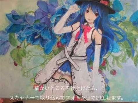 acrylic painting anime touhou acrylic painting reimu hakurei tenshi hinanai
