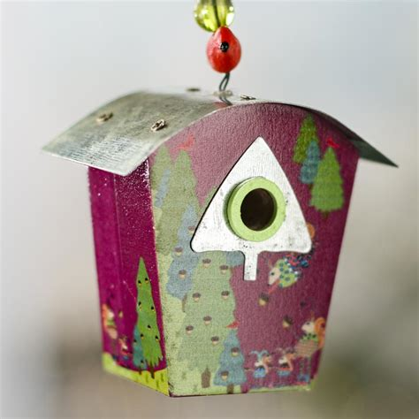 set of christmas birdhouse ornaments artificial birds
