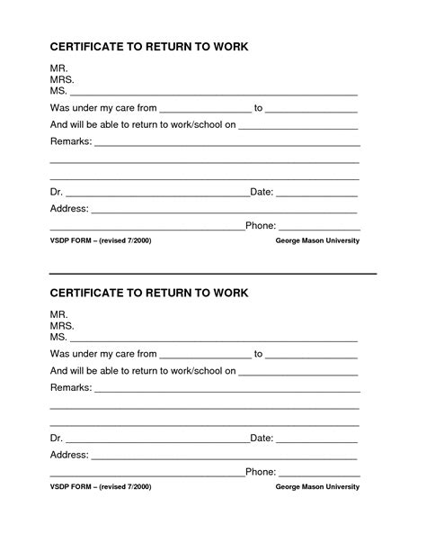 best photos of return to work form template return to