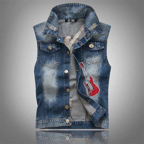 guitar blue pattern style men s clothing t shirts s m l xl slim men s denim vest fashion guitar pattern casual men