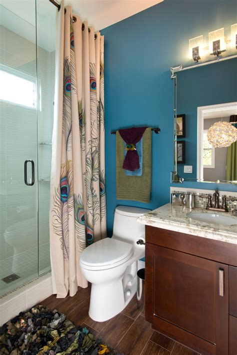 peacock bathroom ideas marvelous peacock shower curtain in bathroom transitional