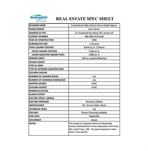 spec sheet template 6 free word pdf documents download