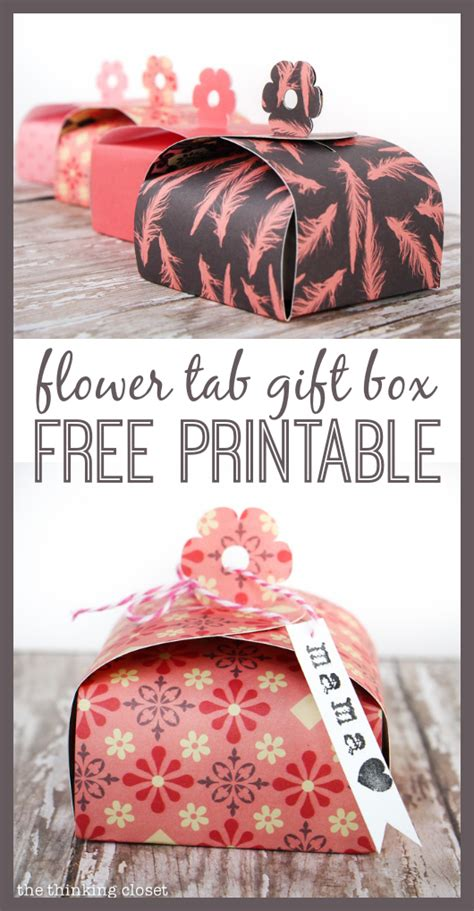 Paper Gift Box Tutorial Printable 100 Blue Nile Giveaway The Thinking Closet Flower Box Template