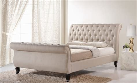 Upholstered Bed Deals Upholstered Tufted Sleigh Bed Groupon Goods