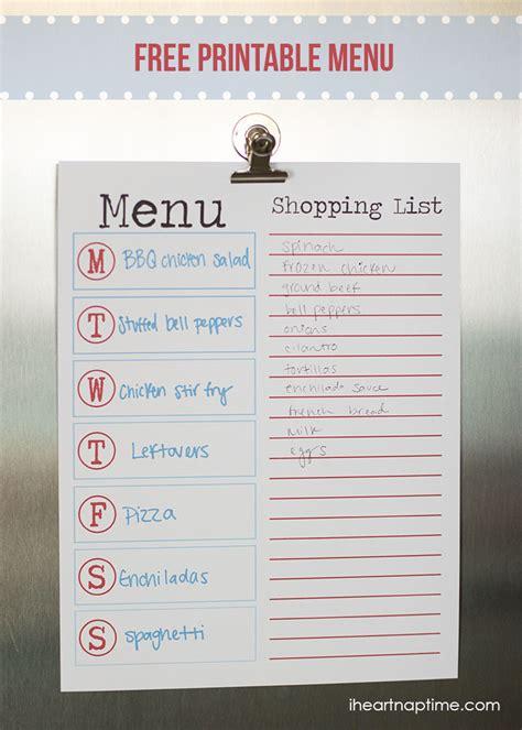 free printable menu templates for free printable menu for summer i nap time