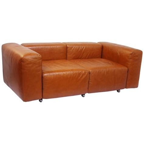 leather modular loveseat small sofa by harvey probber at