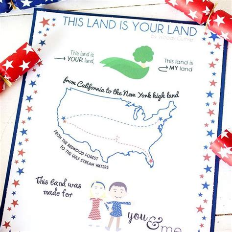 printable lyrics this land is your land 29 simple ways to entertain for the 4th of july tip junkie
