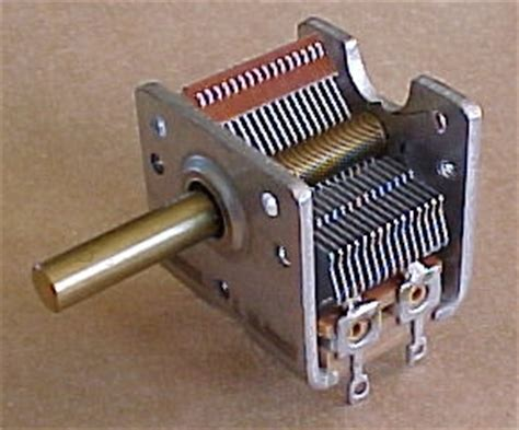 a variable air capacitor used in a radio tuning circuit air variable capacitor