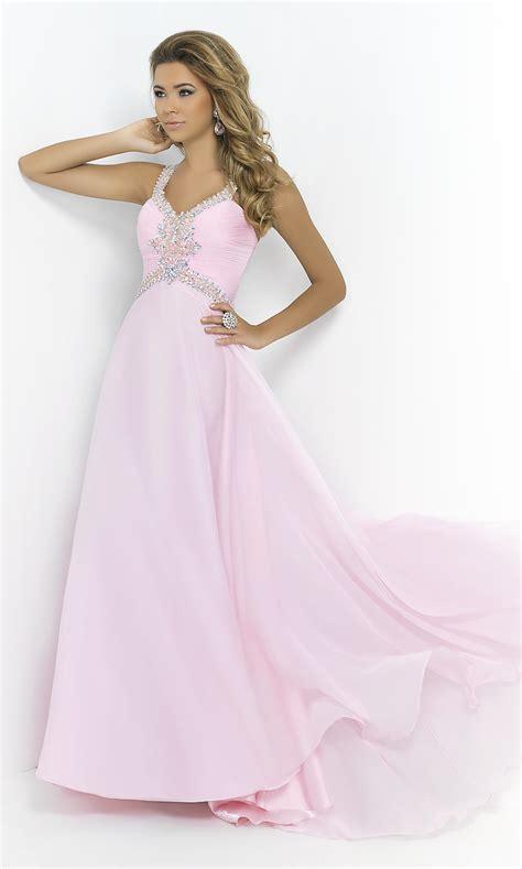 long beaded blush prom dress