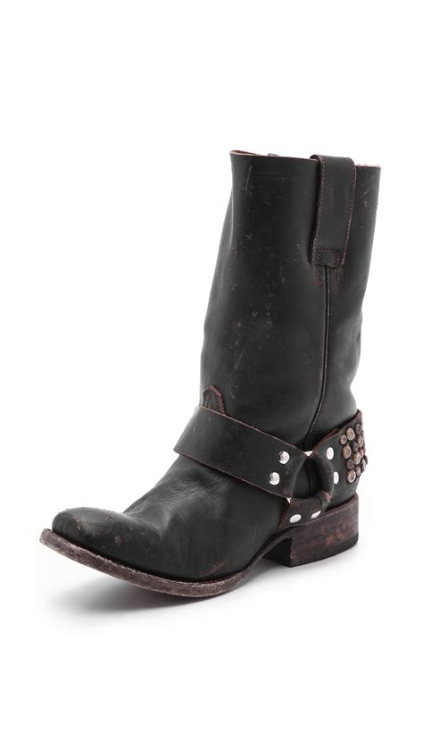 free bird boots freebird by steven thompson studded moto boots in black lyst
