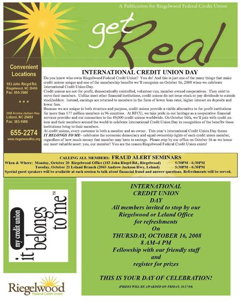 Credit Union Newsletter Riegelwood Federal Credit Union Wins Credit Union Newsletter Makeover Contest