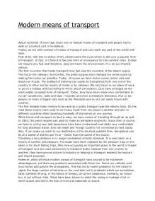 Modes Of Communication Essay by Modern Means Of Transport
