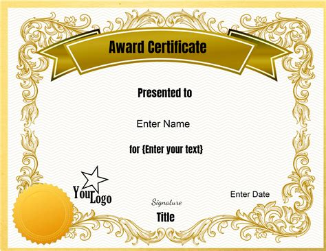 template for awards certificate certificate templates