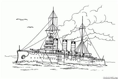 dibujo colorear buque guerra