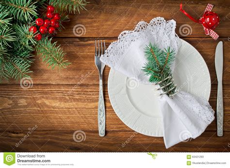 christmas table setting top view stock photo image