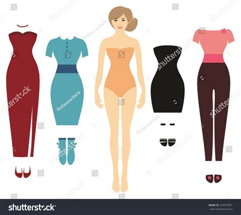 pretty woman cute dress paper doll stock vector 233373001