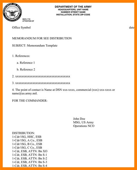 Us Army Memo Template 9 us army memorandum protect letters