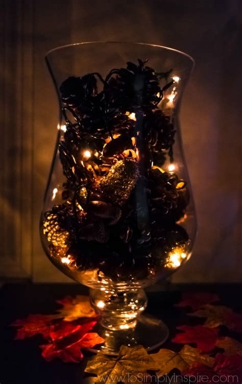 pine cone lights diy pine cone vase filler with lights to simply