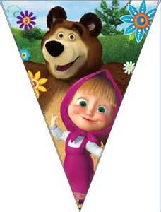 aliexpress buy masha bear cartoon theme paper banner bunting party decoration
