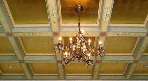 gold leaf coffered ceiling bella riva pinterest
