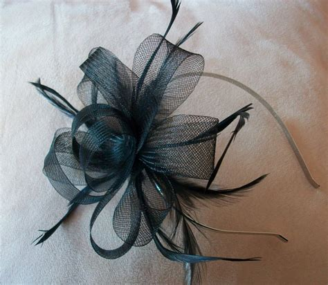 Handmade Fascinator - black fascinator headband black feather fascinator weddings