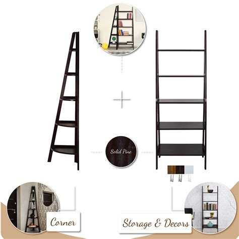 5 shelf corner ladder bookcase espresso casual home