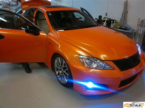 lexus wrapped gloss orange wrap lexus isf vehicle customization shop