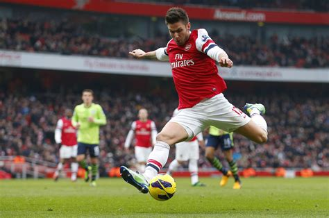 arsenal premier league giroud of arsenal takes a shot at goal during english