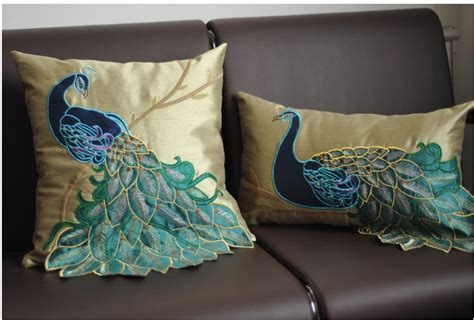 silk peacock home decor luxury handmade sequins peacock cushion faux silk