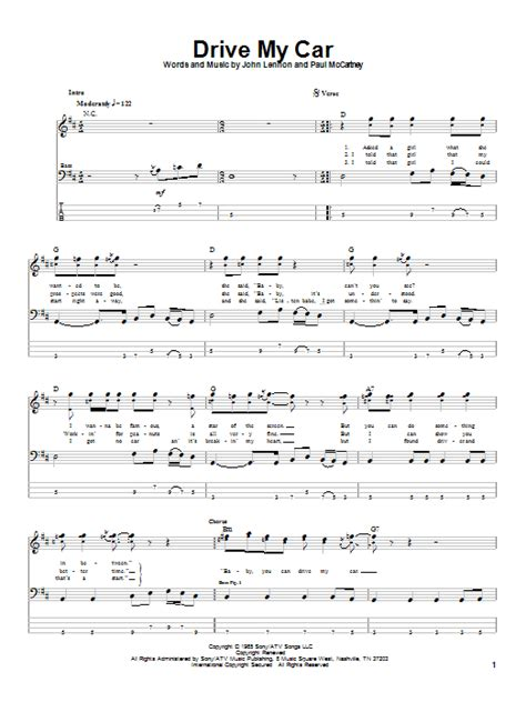 drive chords drive my car bass guitar tab by the beatles bass guitar