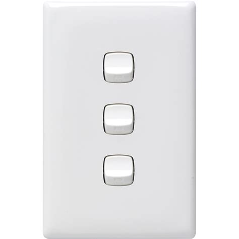 hpm white linea 3 light switch bunnings warehouse