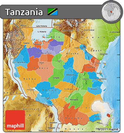 physical map of tanzania free political map of tanzania physical outside