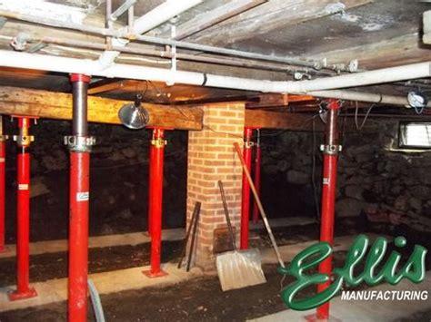 basement support jacks adjustable heavy duty steel lifting shores ellis manufacturing co