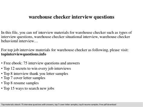 warehouse checker questions