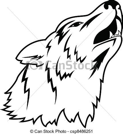 vector illustration of wolf tattoo vector clip art
