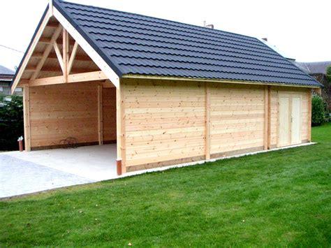 grand garage bois carports bois toit plat pente pergolas decochalet