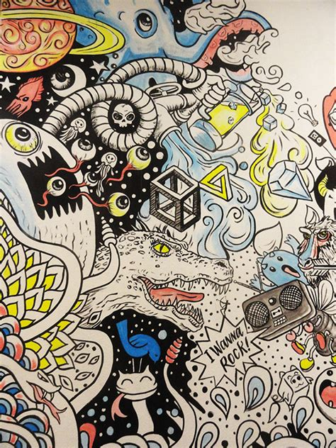 doodle wall wall for bull doodle exhibition on behance