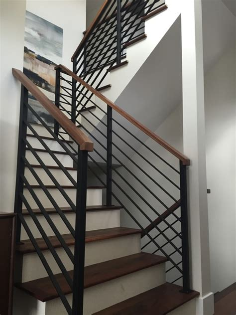 horizontal black flat bar railing contemporary