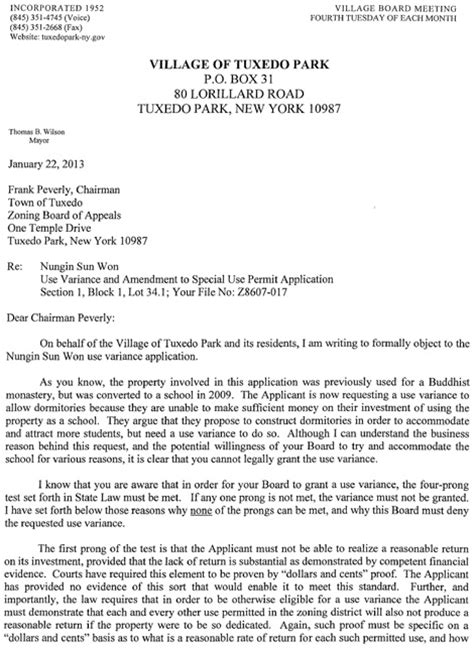 Zoning Request Letter Tuxedo Park Fyi Town Zoning Board Of Appeals