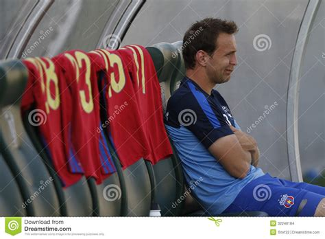 the players bench football player sitting on the bench editorial stock image