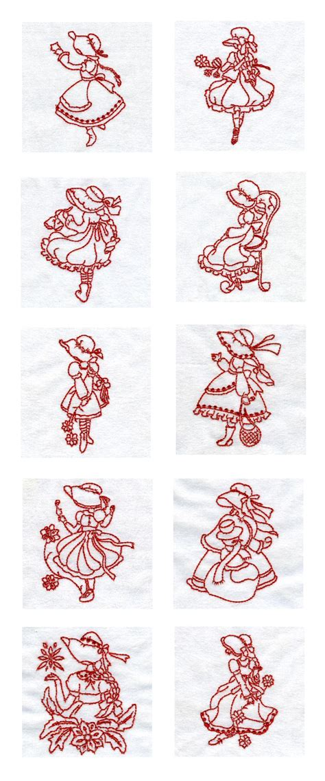 design line embroidery embroidery machine designs line art lovely sunbonnets set