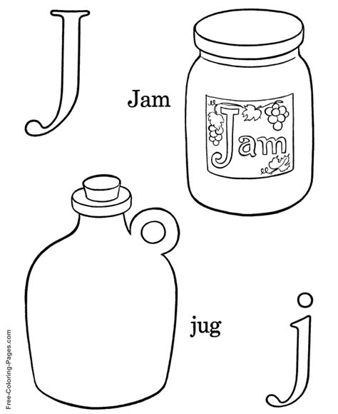 Alphabet Coloring Sheets J Is For Jam Jam Coloring Pages Printables