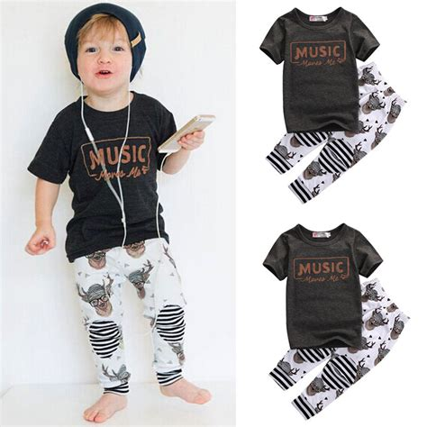 clothes clothes clothes music 0571328288 toddler kid baby boy clothes short sleeve cotton music t shirt tops pant 2pcs outfits kids