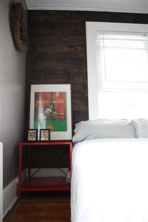 dark feature wall bedroom dark walnut stained shiplap master bedroom feature wall