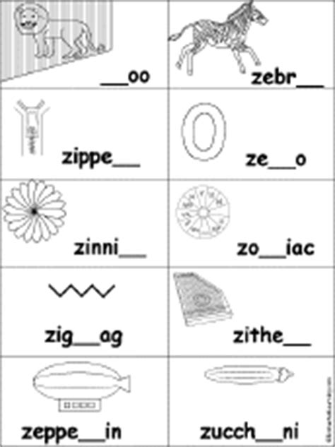 Words Letter Z Letter Z Alphabet Activities At Enchantedlearning